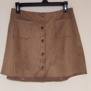 Kendall & Kylie soft suede button down mini skirt